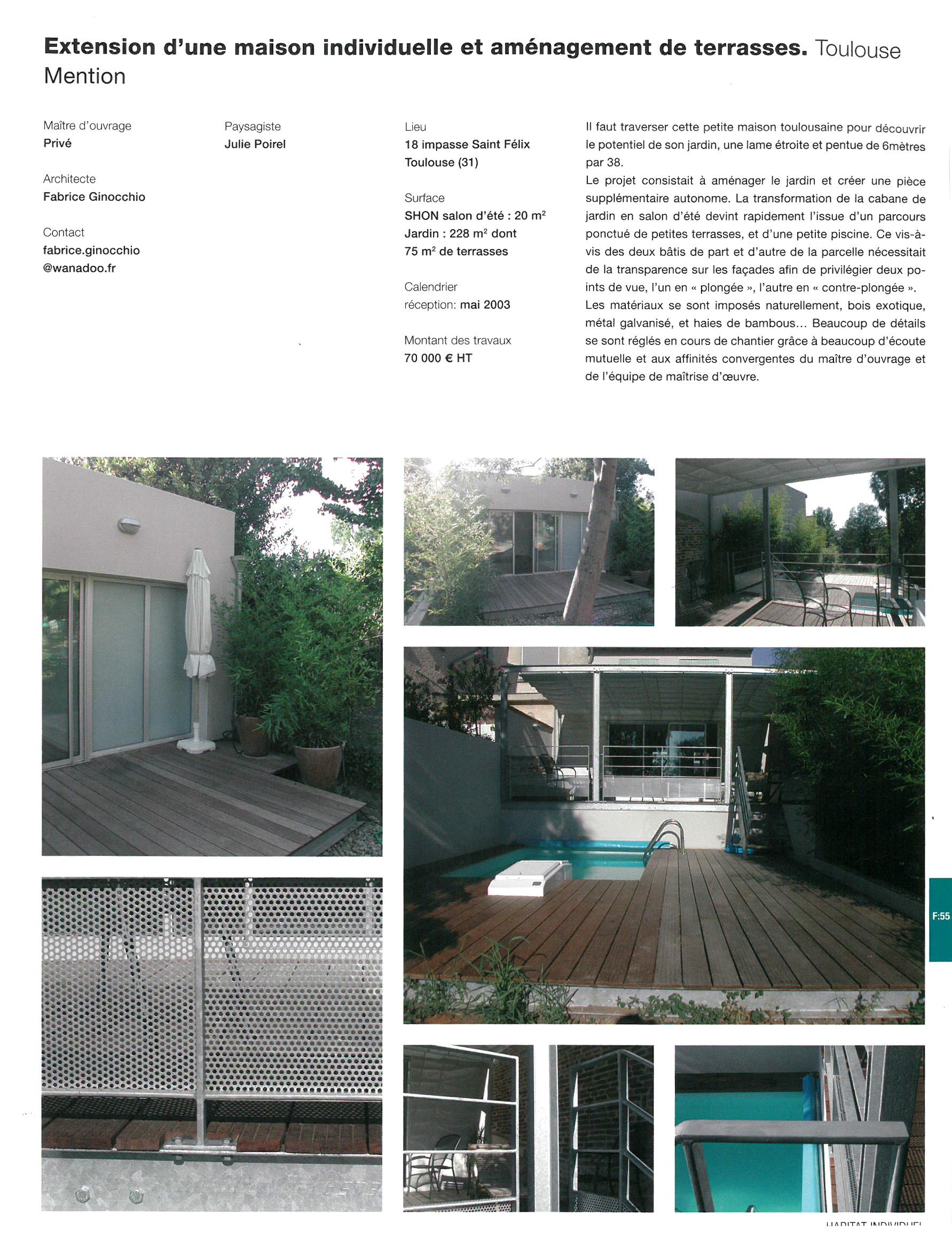 Architecte Paysagiste Midi Pyrénées publications et prix - fabrice ginocchio