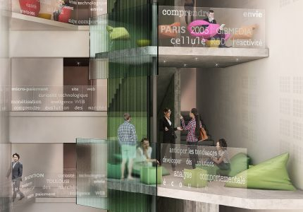 Aménagement du hall d'entrée d'un immeuble de bureaux